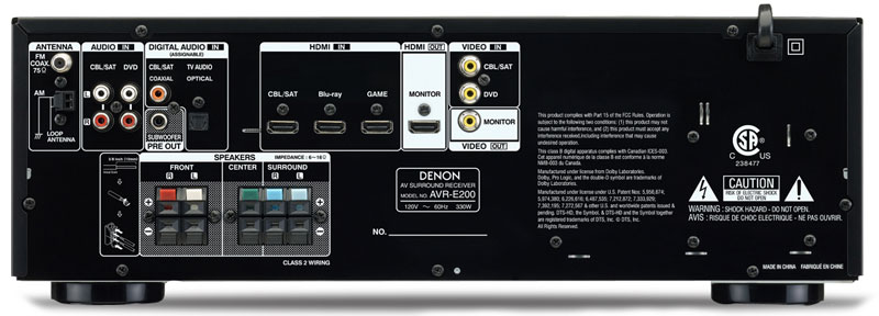 Denon AVR-E200 Back Panel