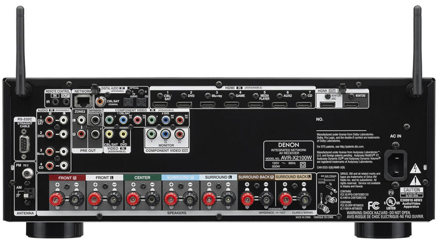 Denon AVR-X2100W Back Panel
