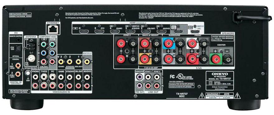 Onkyo TX-NR737 Back Panel